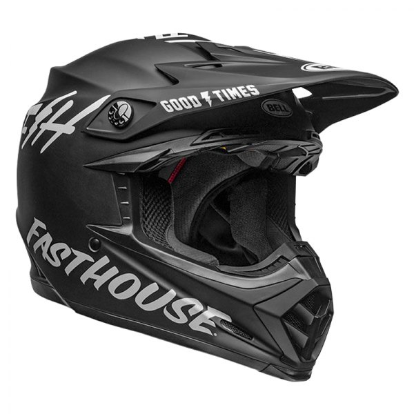 Fasthouse Matte Black//White, Small//Medium Bell Moto-9 MIPS Youth Motorcycle Helmet