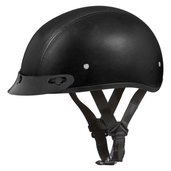 Daytona Helmets® - Skull Cap Leather Covered Half Shell Helmet with Visor
