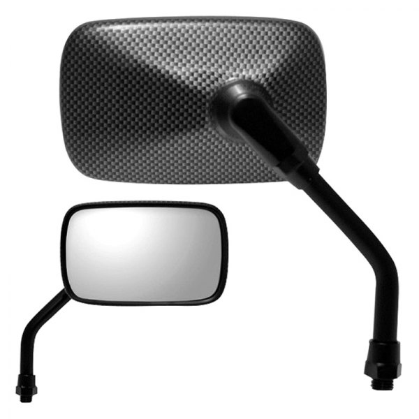 K Source® - Motorcycle Right Side Yamaha Rectangular Carbon Fiber Mirror without Automatic Dimming