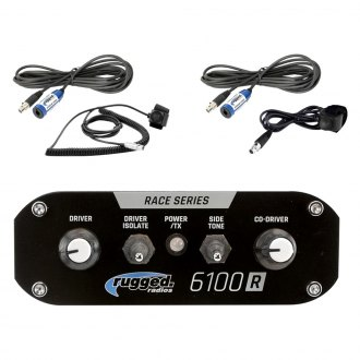 Antenna and Antenna Mount Rugged Radios RRP696 Black Out Series Intercom and RM60 60 Watt VHF Two Way Mobile Radio 2 Place Race System Kit with Helmet Kits Intercom Cables Push to Talk Cables