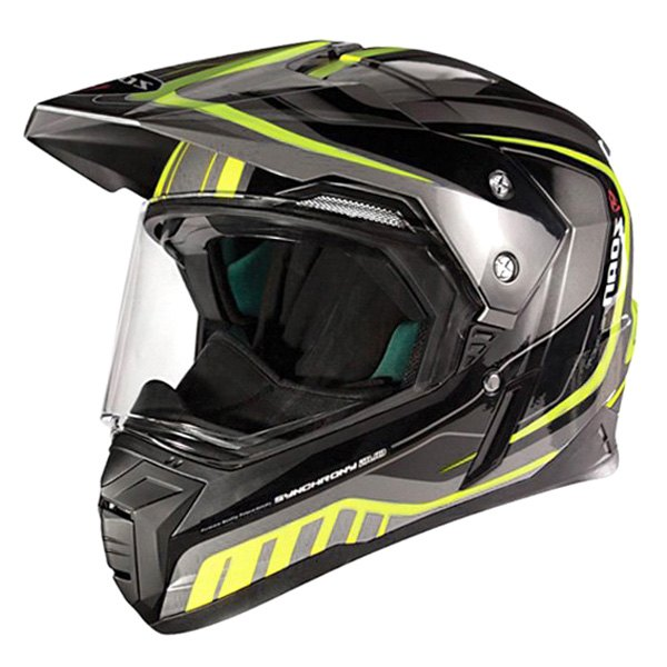 Zoan Synchrony Duo Tourer Yellow Graphic Dual Sport Motorcycle Riding Helmet